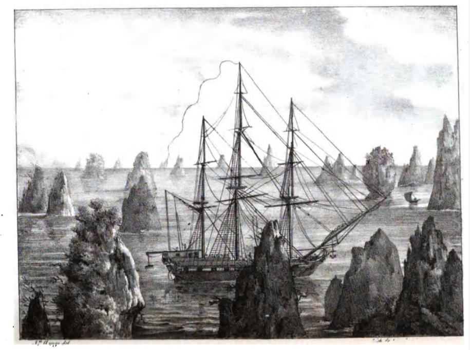 L'Uranie à Rawak, en Nouvelle-Guinée, une des escales de cette longue expédition qui ne coûta la vie qu'à sept membres d'équipage. Un exploit pour l'époque.