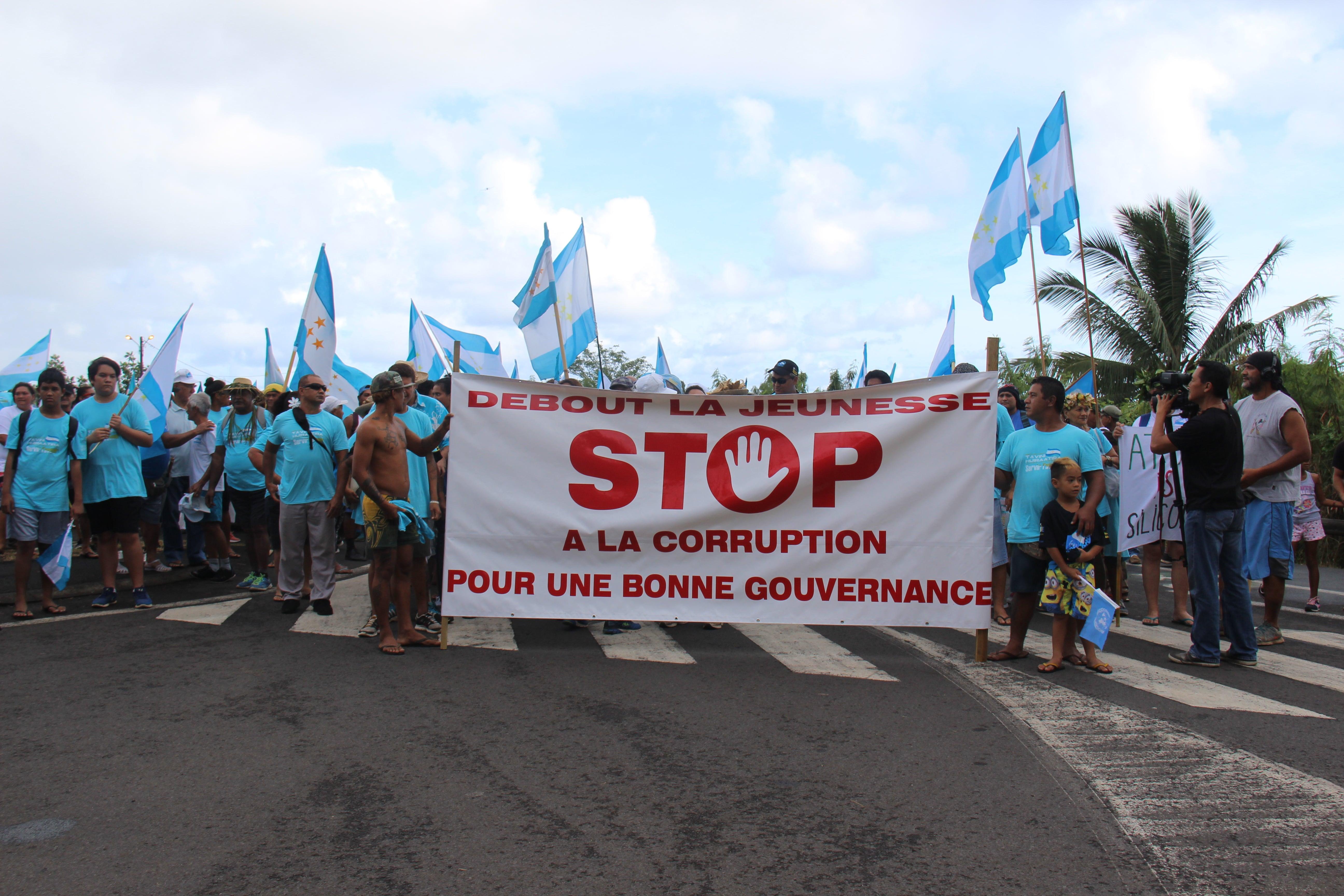 Plusieurs centaines de militants du Tavini ont marché contre la corruption