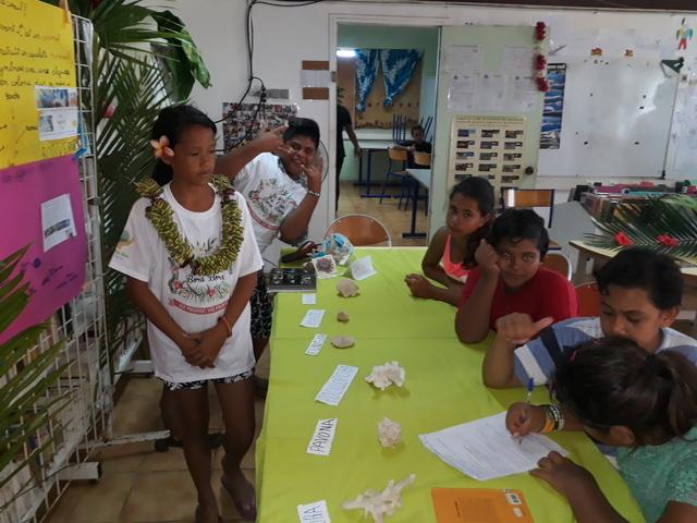 Dans l'atelier du corail, Ludyvines et Manatea présentent à leurs camarades la vie du corail, un lieu très important pour les poissons.