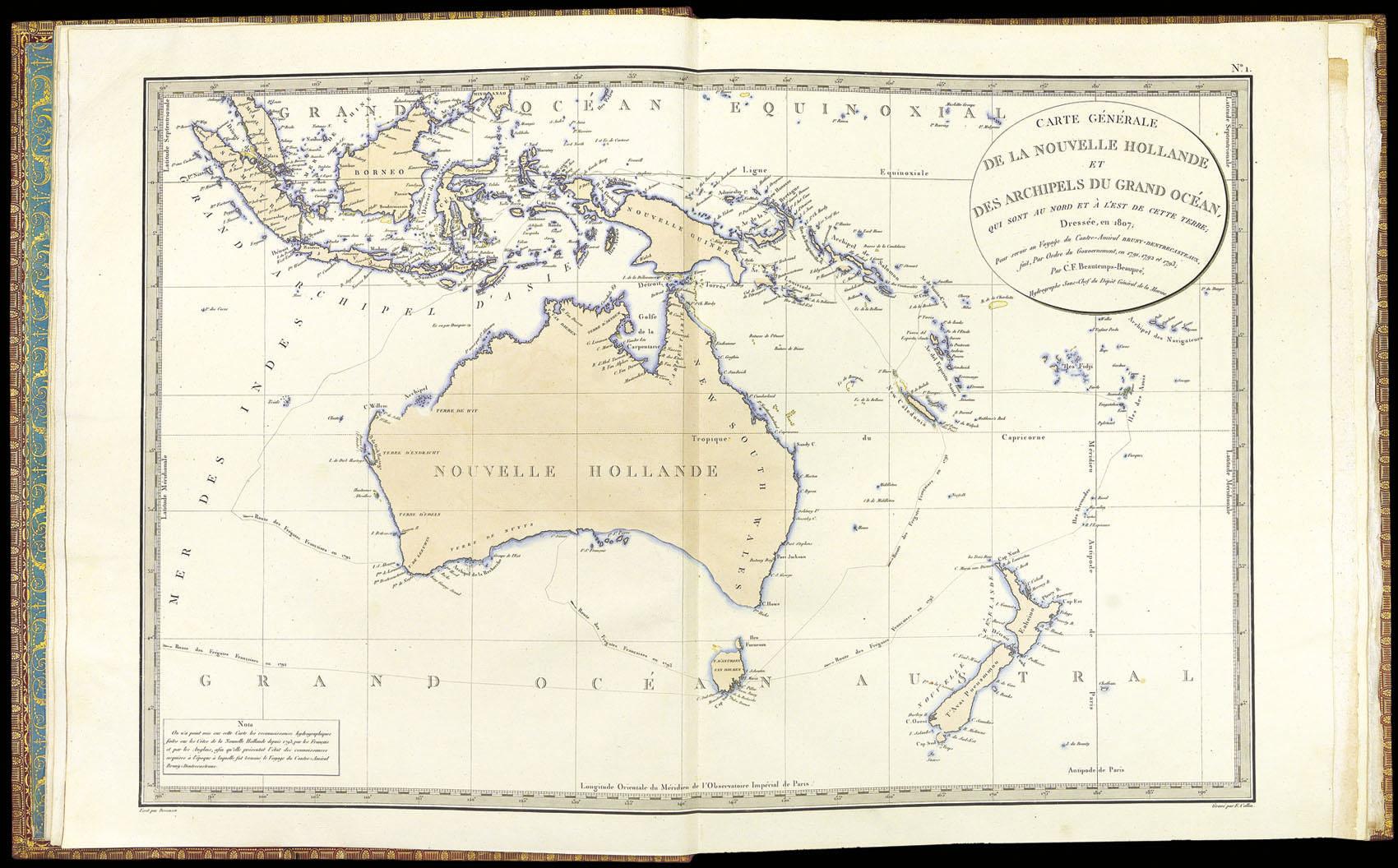 D'Entrecasteaux, au fil de ses pérégrinations fit un tour complet du continent australien.