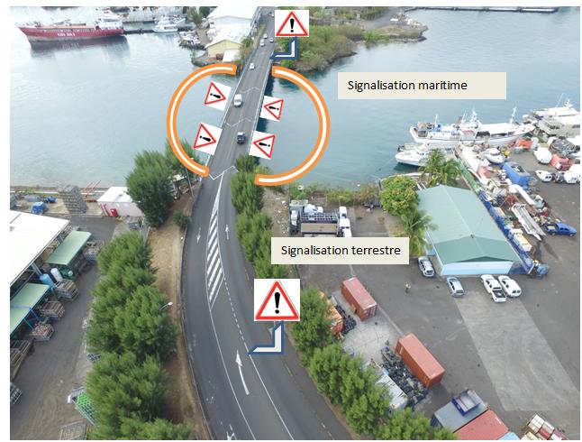 Des dispositifs de signalisation seront installés pour prévenir les automobilistes et les usagers maritimes.