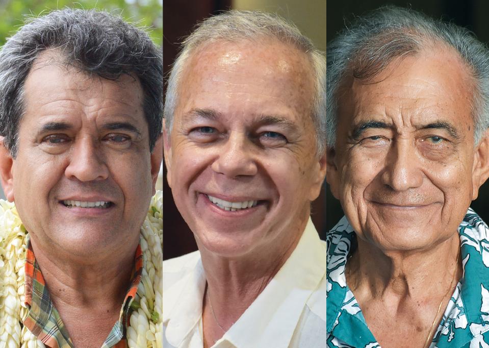Edouard Fritch, Geffry Salmon et Oscar Temaru, les leaders des trois listes encore en course pour le deuxième tour des Territoriales, le 6 mai prochain.