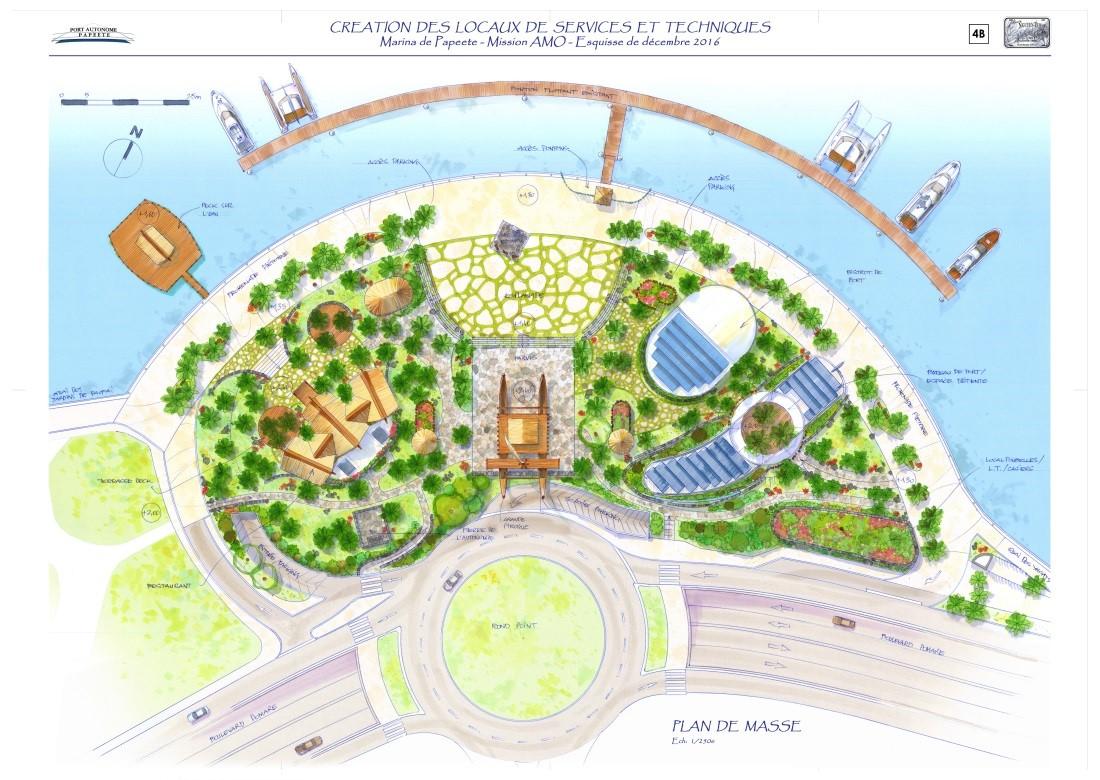 Une place d'animation culturelle, un parvis sur lequel sera édifiée une grande pirogue emblématique, un bistrot de port, un restaurant, le bureau du port de la marina de Papeete et des locaux techniques.