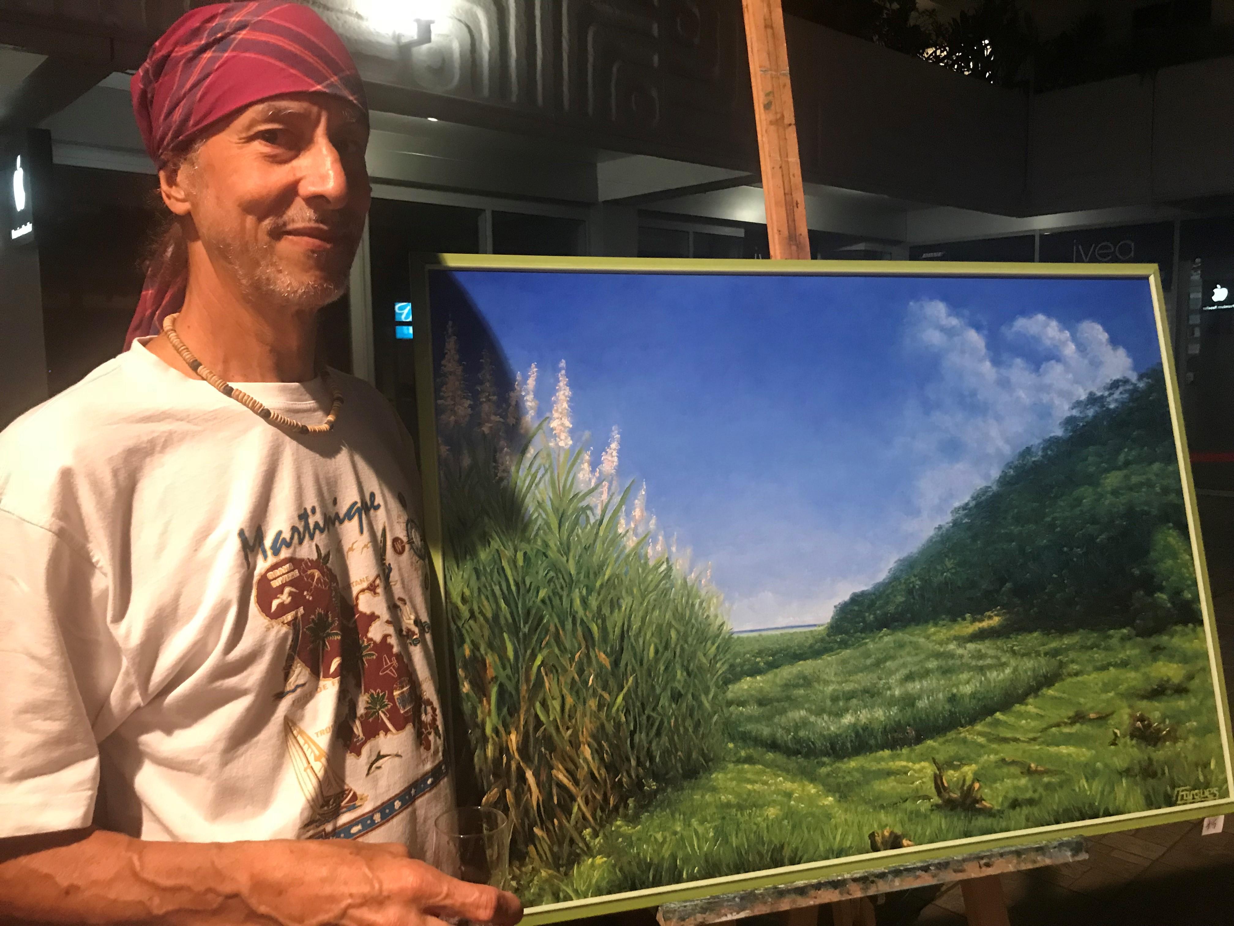 Dominique Fargues a trouvé son inspiration dans ses origines Martiniquaise : un paysage avec des flèches de cannes prêtes être récoltées.