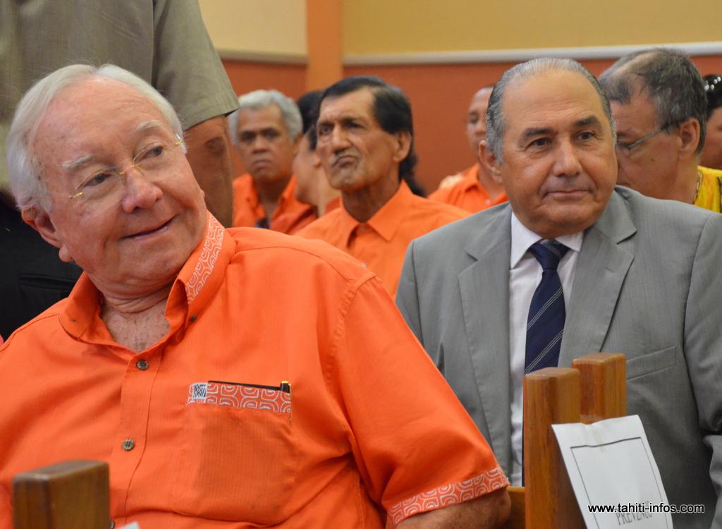 Gaston Flosse et Hubert Haddad, en septembre 2012 lors du procès en correctionnelle de cette affaire de corruption.