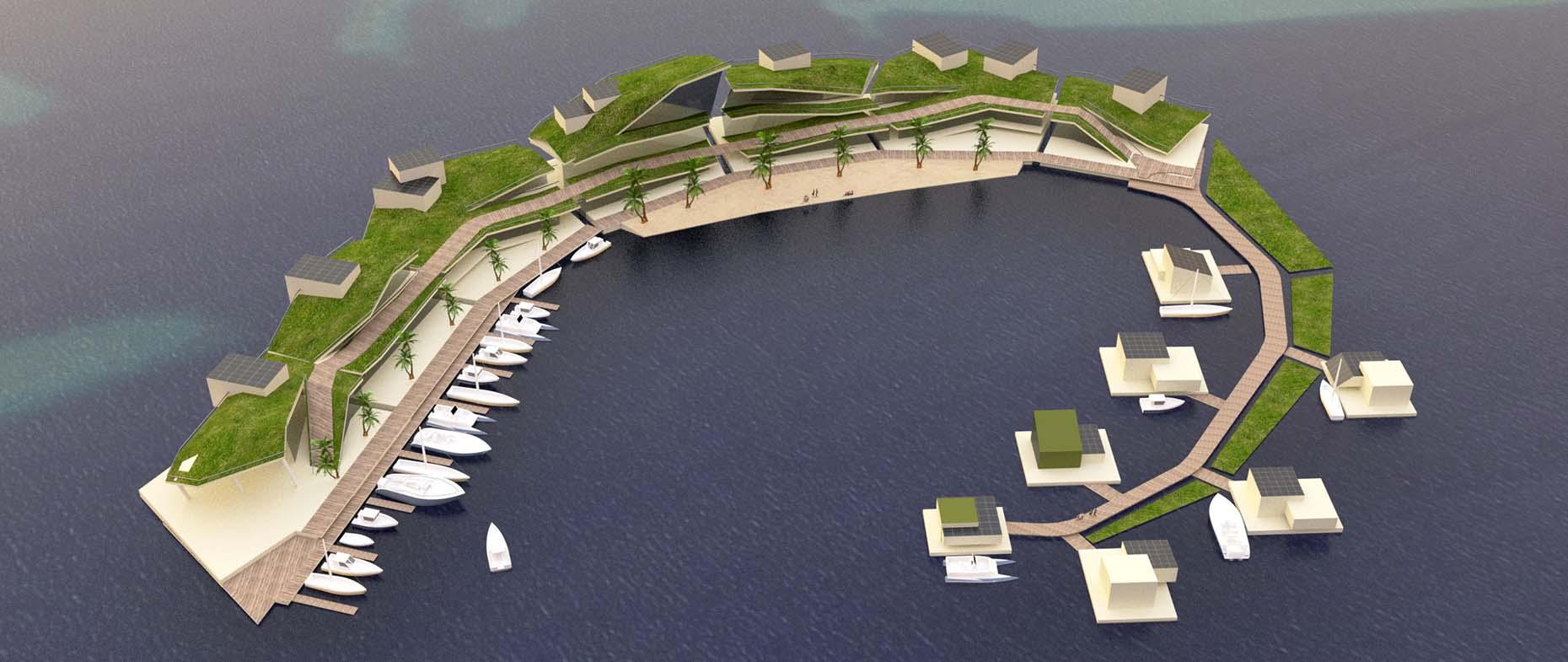Une représentation d'architecte imaginant une île flottante. Les chances que ce prototype très high tech voie le jour en Polynésie ont fortement diminué ces derniers mois. (crédit photo : Blue Frontiers)