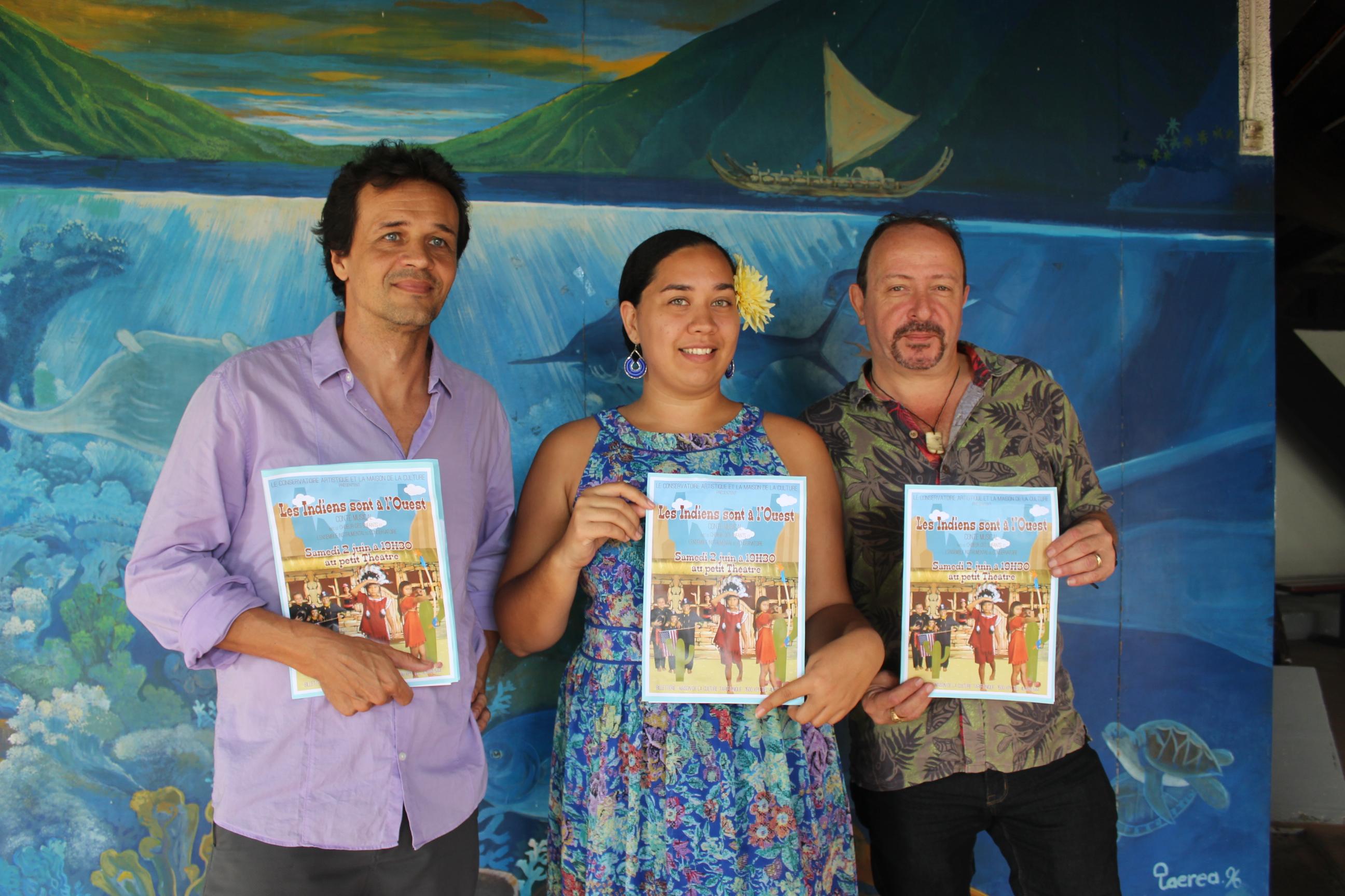 """Stéphane Lecoutre, Vanessa Cunéo et Frédéric Cibard présentent : """"Les indiens sont à l'ouest"""", le nouveau spectacle du chœur du Conservatoire."""
