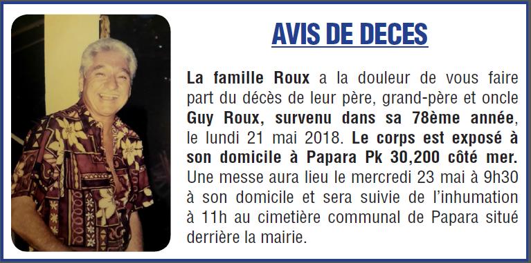 Décès de Monsieur Guy ROUX