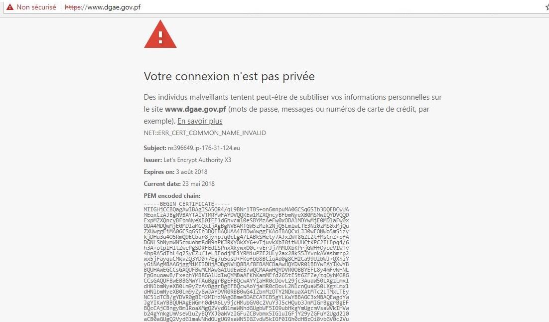Les sites du Pays inaccessibles à cause d'un problème de certificat