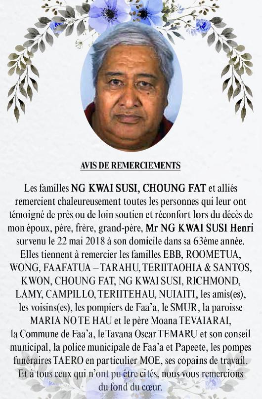 Avis de remerciements Famille NG KWAI SUSI - CHOUNG FAT