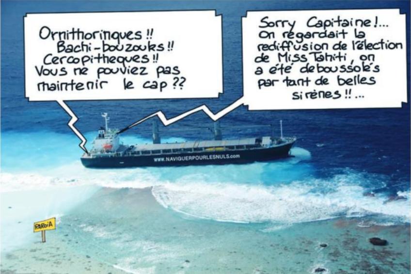 """"""" Raroia : Le cargo échoué """" vu par Munoz"""