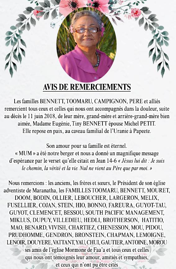 Avis de remerciements Famille BENNETT-TOOMARU
