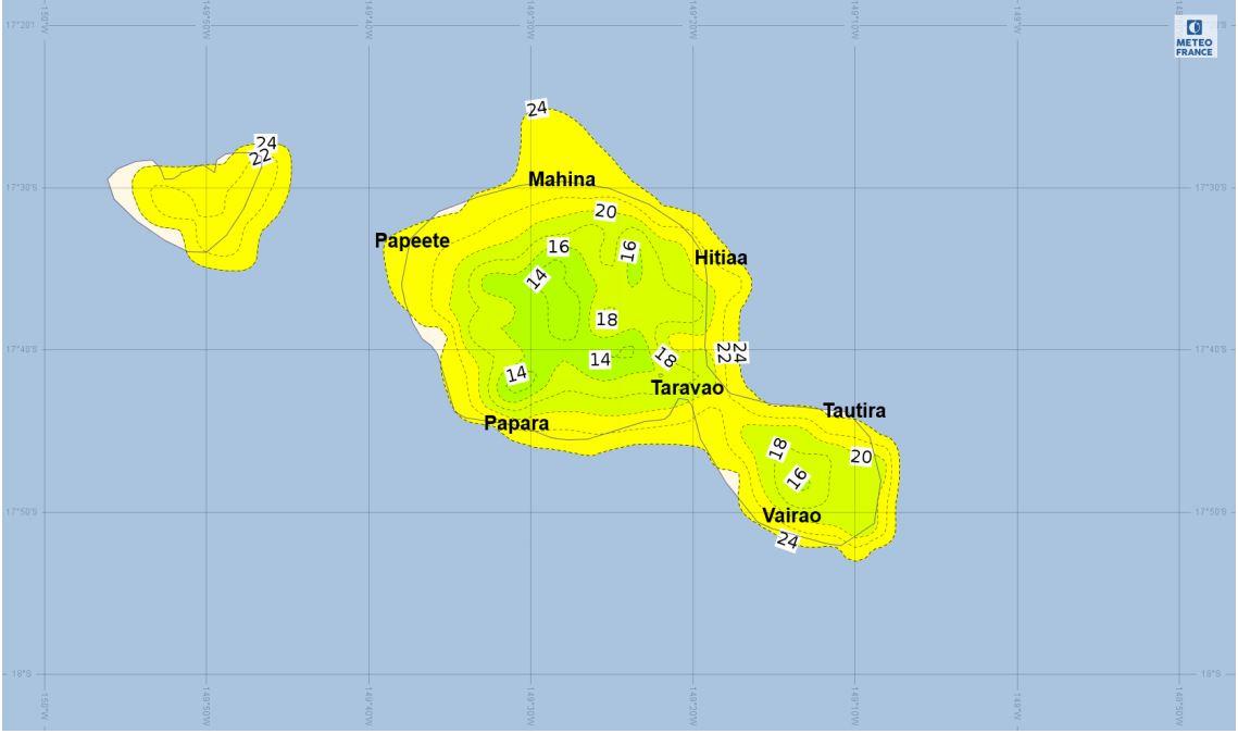 Températures prévues sur Tahiti et Moorea pour le 10 juillet à 2 heures du matin par le modèle de prévisions AROME. (Source : Météo-France)