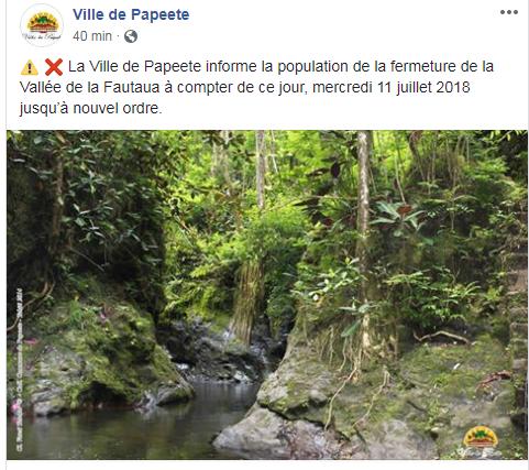 La vallée de la Fautaua est fermée