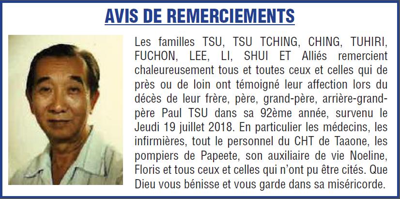 Avis de remerciements Famille TSU