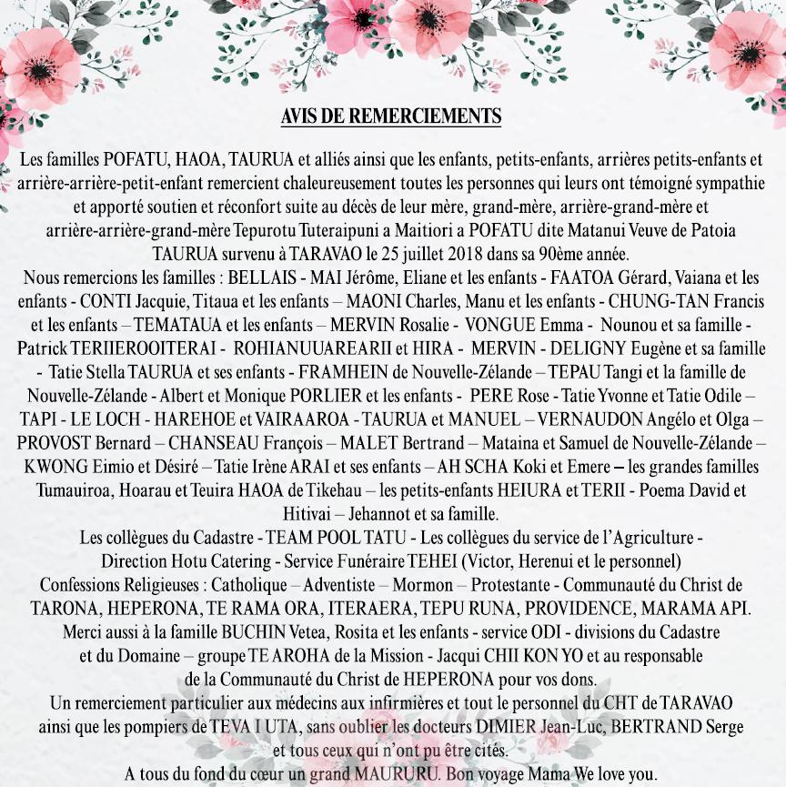 Avis de remerciements Famille POFATU - TAURUA