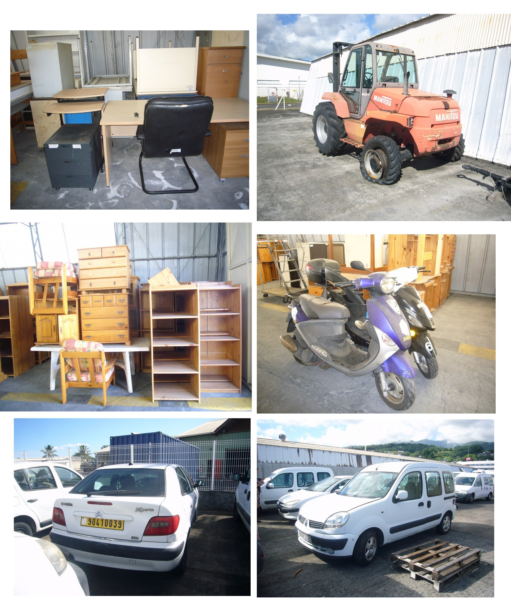 """Ces voitures, meubles et scooters (les véhicules sont pour la plupart proposés """"en l'état - pour pièces"""") seront vendus au camp d'Arue le lundi 27 août à 8h30."""