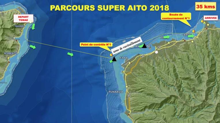 Va'a V1 - Super Aito 2018 : Steeve Teihotaata devant Taaroa Dubois et Damas Ami