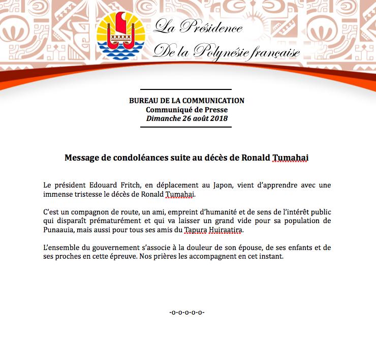 Rony Tumahai, le maire de Punaauia est décédé