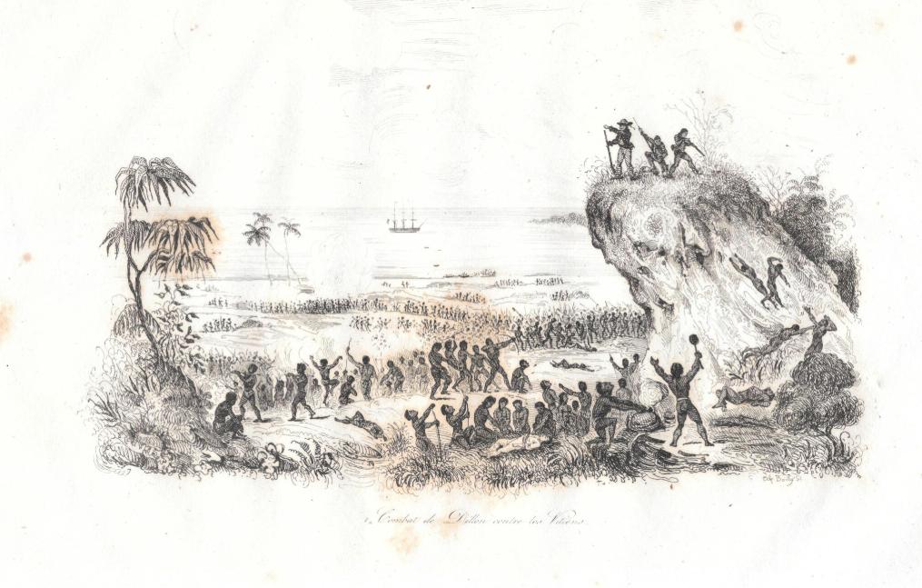 Une vue du célèbre combat ayant opposé Dillon et Savage à des guerriers fidjiens : Savage fut tué et dévoré, Dillon s'en sortit sain et sauf.