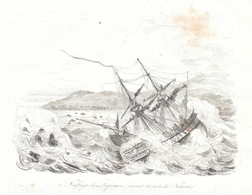Le naufrage de La Pérouse à Vanikoro, tel qu'il était vu à l'époque.