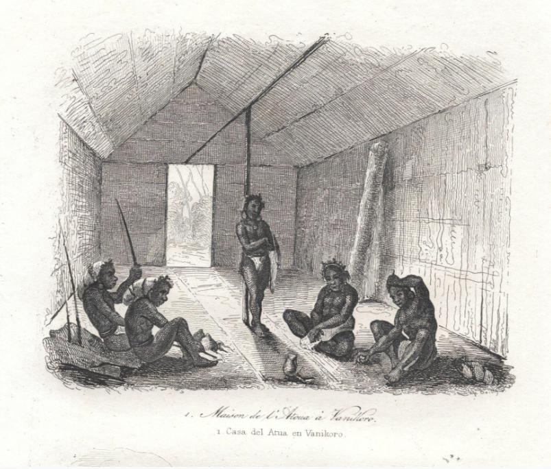 Des habitants de Vanikoro au moment du passage de Dillon ; ils ne firent pas de difficultés à troquer des objets provenant de l'expédition La Pérouse.