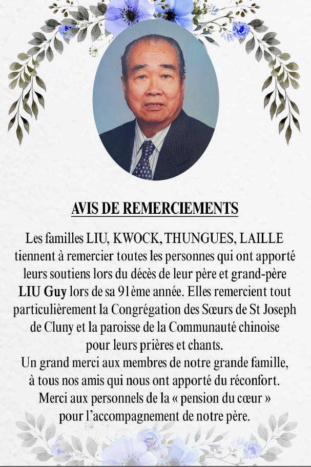 Avis de remerciements Famille LIU