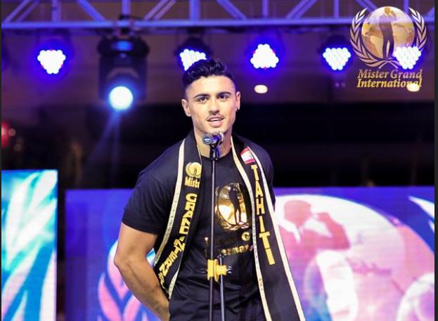 Le tahitien, originaire de Mahina, est arrivé devant la dizaine de concurrents participant à ce concours international. Crédit Facebook Mister Grand International 2018