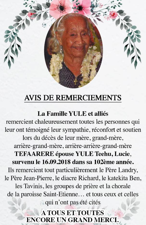 Avis de remerciements Famille YULE