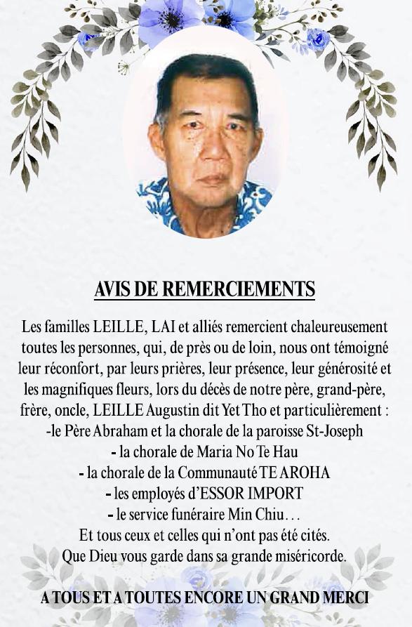 Avis de remerciements Famille LEILLE - LAI