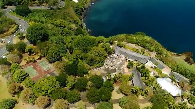 Capture d'écran de la vidéo réalisée par Sotheby's présentant le terrain de l'hôtel du Tahara'a