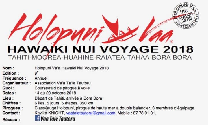 Holopuni Va'a - Hawaiki Nui Voyage 2018 : L'aventure démarre dimanche