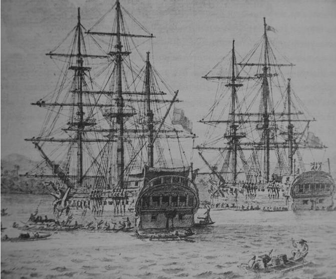 Gravure représentant à leur départ les deux navires de l'expédition, la « Descubierta » et l' « Atrevida ».