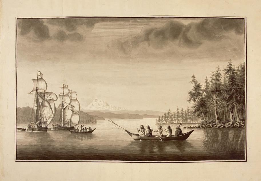 Gravure montrant les deux navires espagnols lors de leur exploration de la côte nord-ouest de l'Amérique.