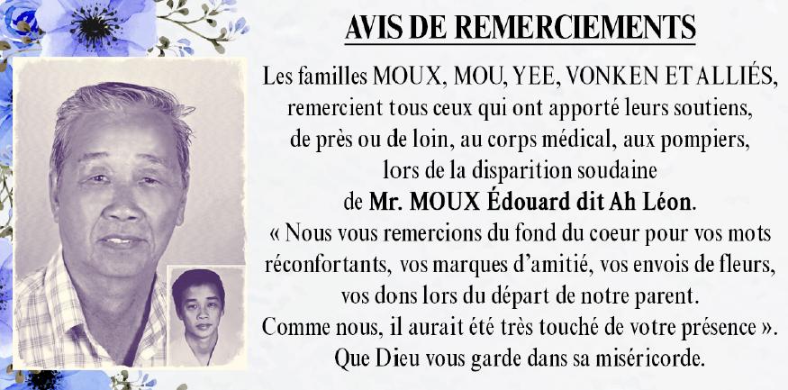Avis de remerciements Famille MOUX