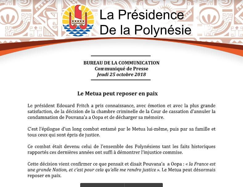 L'autonomiste polynésien Pouvanaa A Oopa réhabilité 41 ans après sa mort