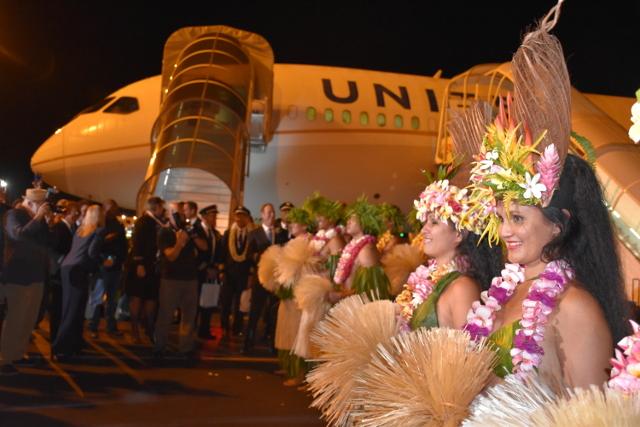 Le premier avion de United Airlines s'est posé à Tahiti (photos)