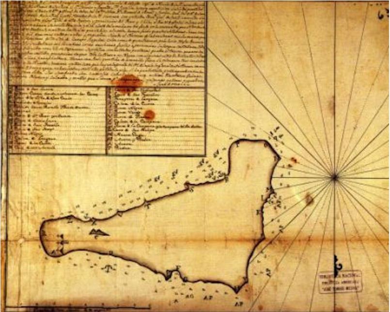 Cette carte, remarquable de précision, est due au travail des Espagnols lors du séjour de Gonzalez de Ahedo.