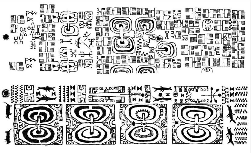 Motifs marquisiens traditionnels : avouons que l'on n'est pas loin d'une véritable écriture de la part de ces Polynésiens ; d'ailleurs les tatouages portés par les hommes permettaient littéralement de « lire » leur passé et leur place dans la société d'alors. Entre ces symboles et le rongo rongo pascuan, la distance est faible…