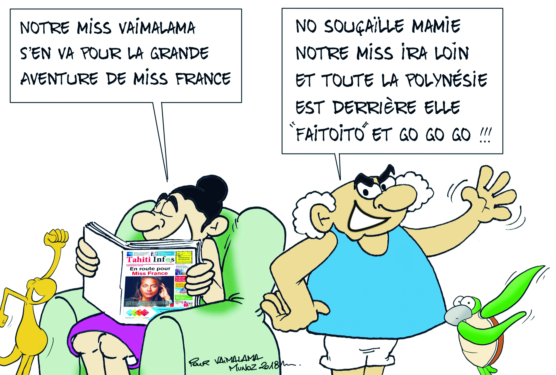 """"""" Vaimalama en route pour Miss France """" par Munoz"""