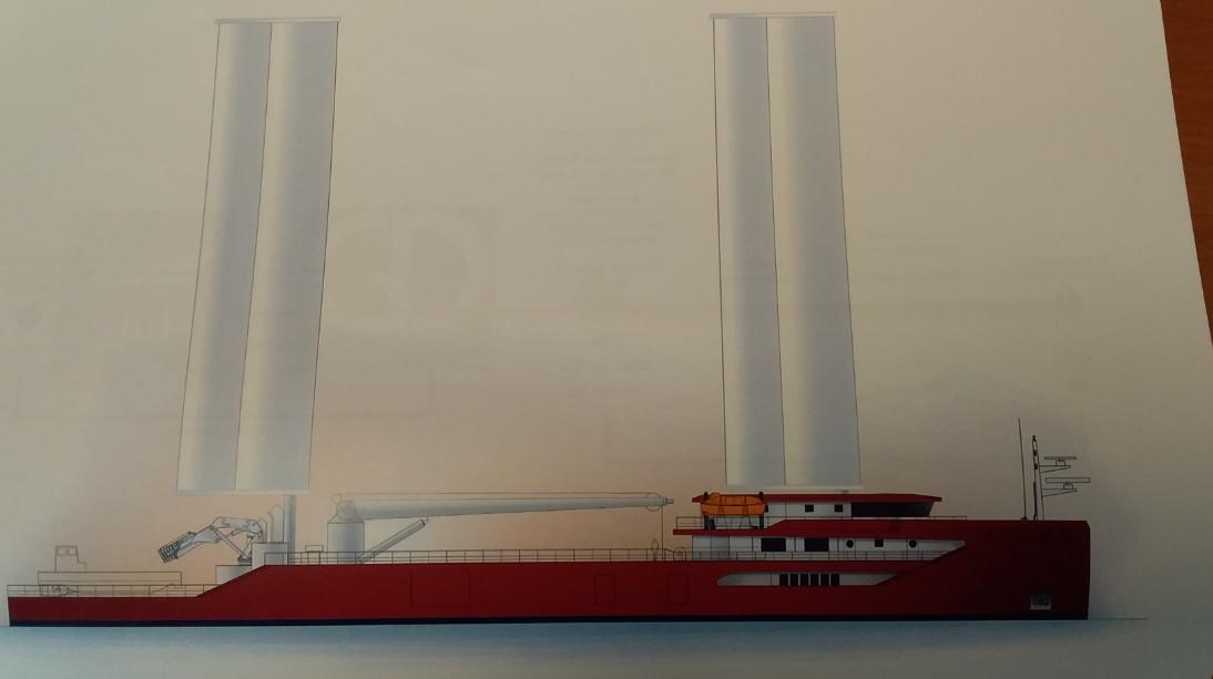 Eole Marine Colportage a pour projet de mettre en place des cargos de nouvelle génération (image ci-dessus) utilisant une propulsion hybride combinant électricité et force du vent en Polynésie française.