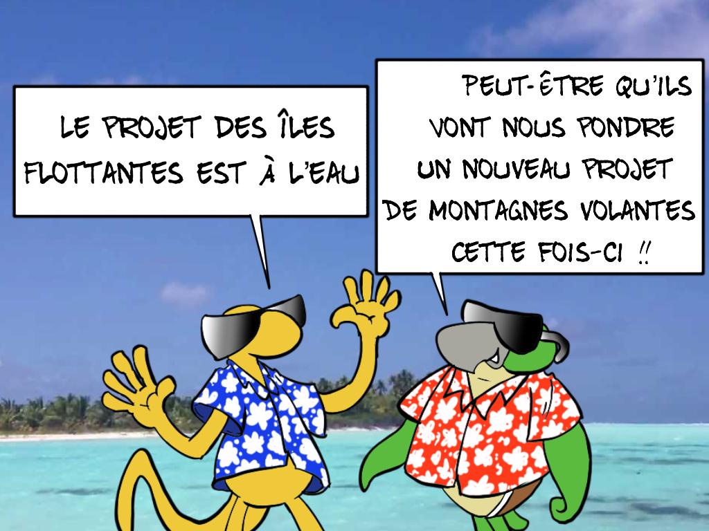 """"""" Le projet des îles flottantes à l'eau """" vu par Munoz"""
