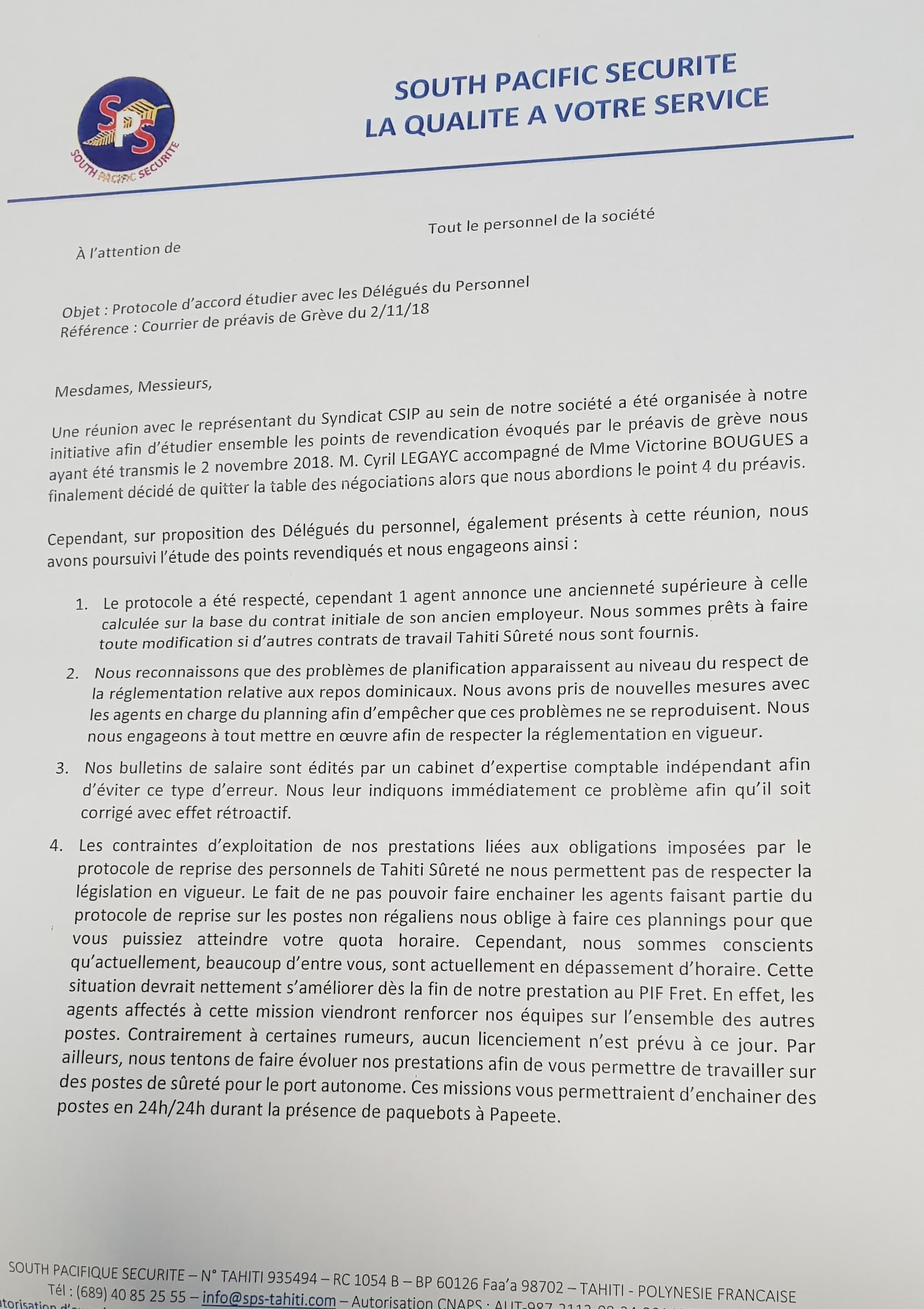 Proposition faite par la direction de SPS - page 1