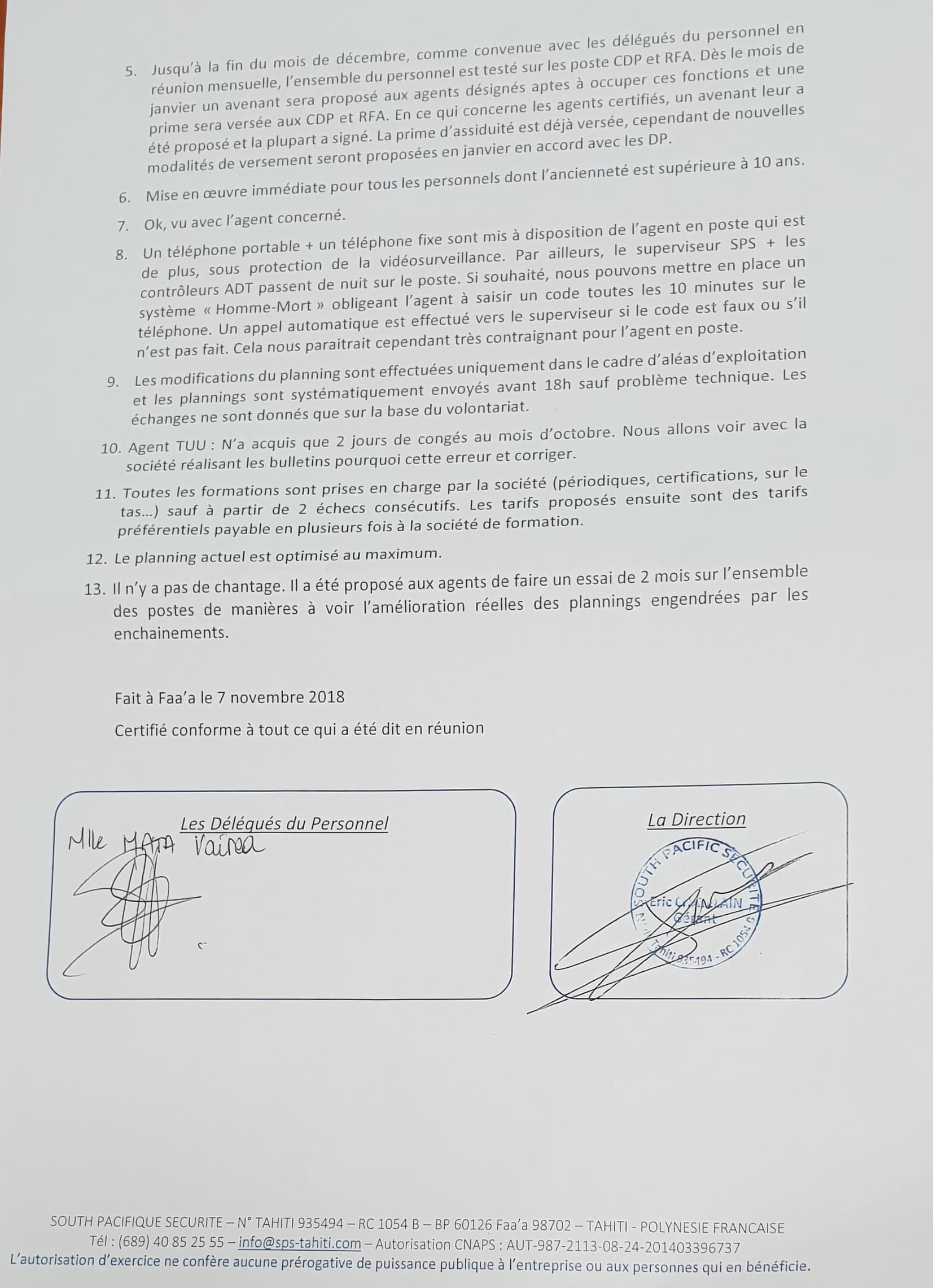 Proposition faite par la direction de SPS - page 2