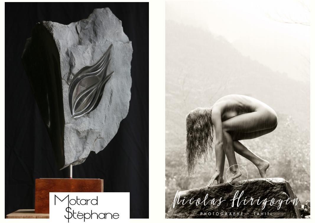 Sculptures et photographies présentées salle Muriavai