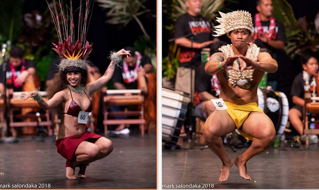 "Hualani Obrero-Zablan et Jacksmith Tanuvasa ont remporté le 1er concours ""Hura i Hawaii""."