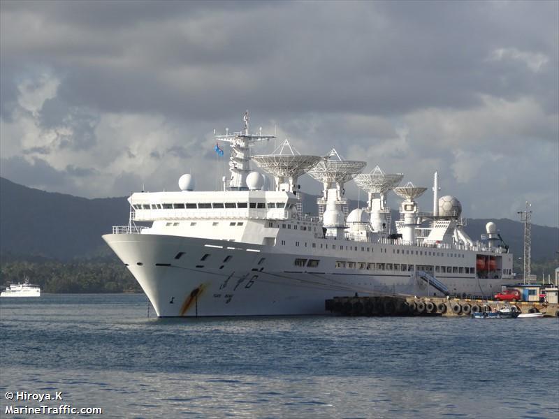"""Le Yuan Wang-6, officiellement un bateau """"scientifique et d'exploration"""", serait en réalité au cœur du dispositif balistique Chinois dans le Pacifique. (crédit photo : Hiroya.K, Marinetraffic.com)"""