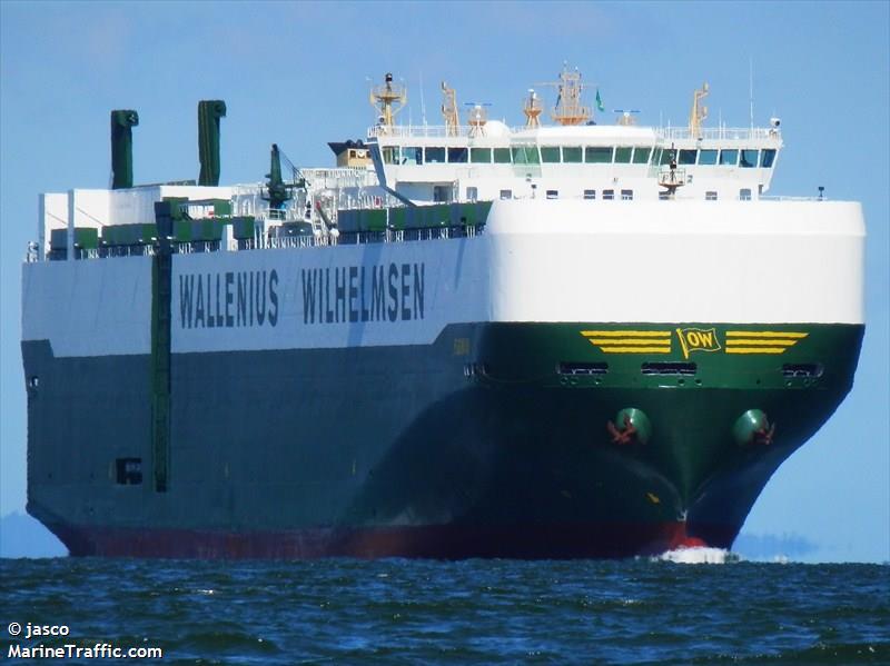 Le Carmen, un bateau de transport de voitures battant pavillon suédois, a été refoulé de la Nouvelle-Zélande et de Nouméa à cause d'une invasion de punaises. (crédit photo : Jasco/MarineTraffic.com)