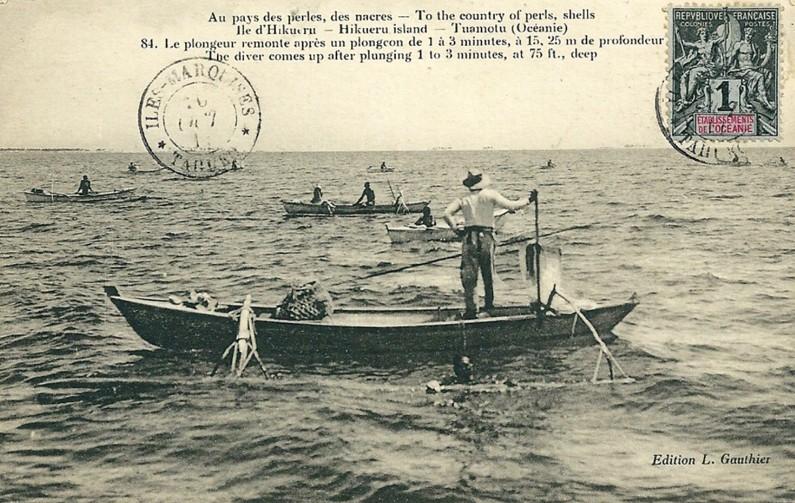 Pêcheurs et Plongeurs au pays de la nacre en 1912, île Hikueru, Tuamotu,. Photo Lucien Gauthier