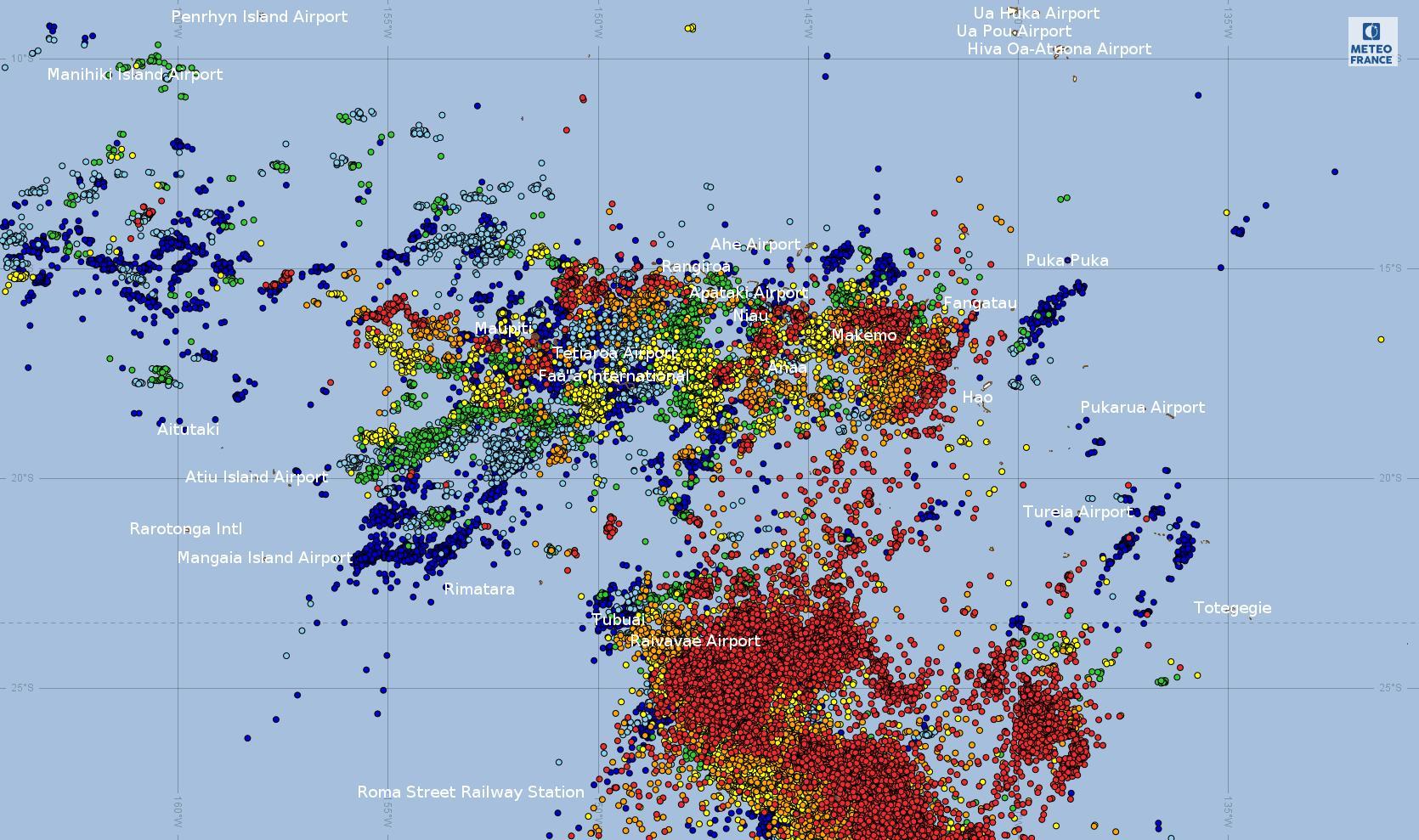 Impacts de foudre sur la Polynésie entre le 24 décembre à 14h et le 25 décembre 2018 à 14h (source :WWLLN)